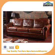 Hot Design American Style 3 seater Sofa, Vintage Leather Sofa, Leather Living Room Sofa