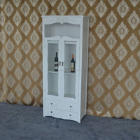MDF white wooden display cabinet with 2 drawers