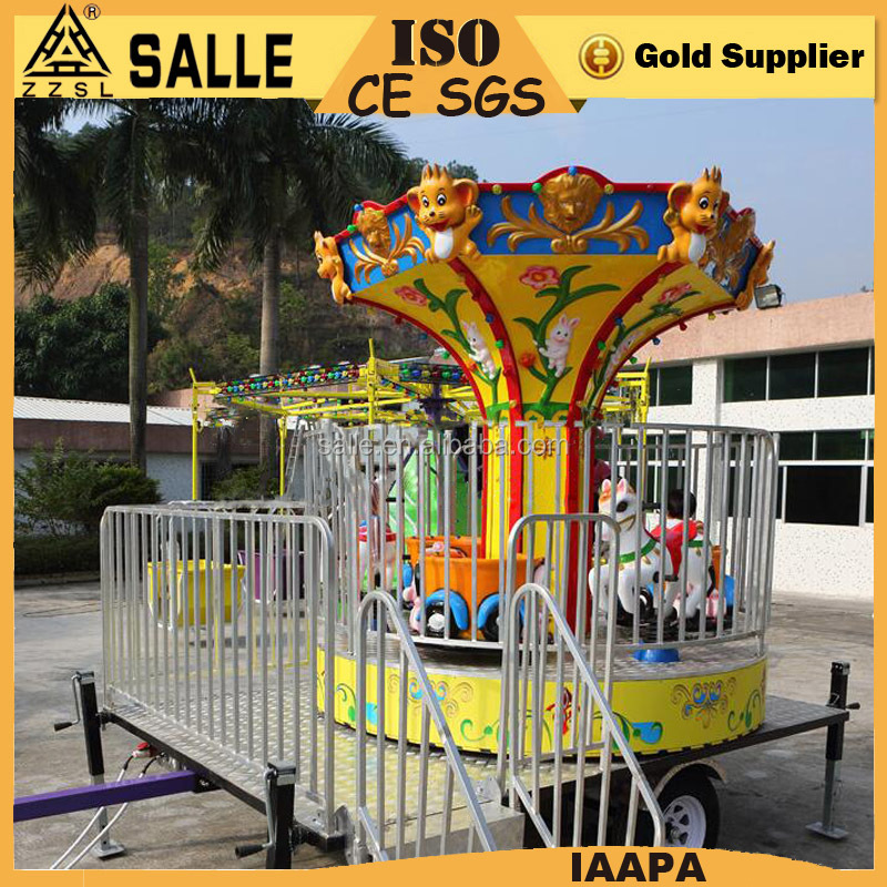 New product children's rides carousel portable mini carousel horse with trailer