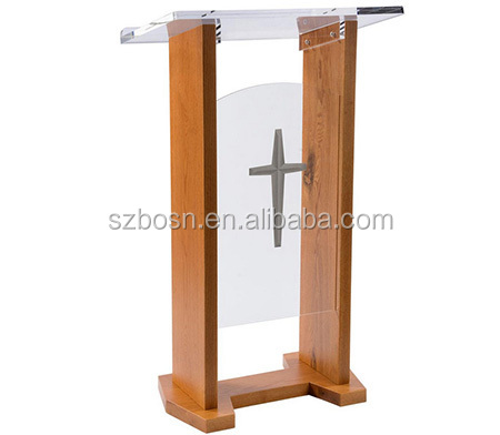 High Quality Wood & Acrylic Podium, Plexiglass Lectern, Optional Cross