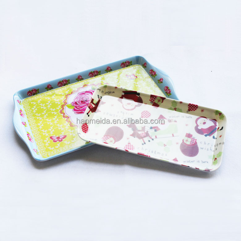39 x 24.5cm large rectangle melamine serving tray with print patterns