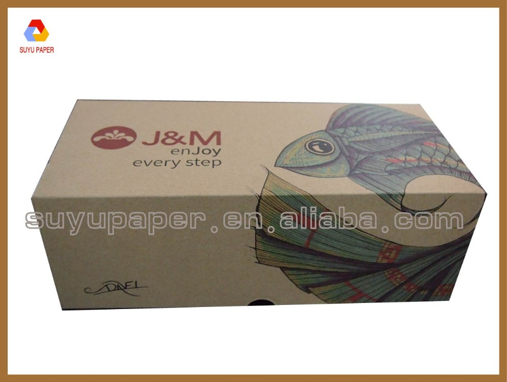 Hot corrugated brown kraft paper shoes box packaging