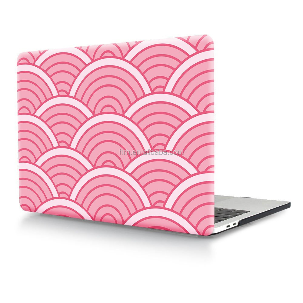 "Fan-shaped Pink Laptop Body Shell Protective Hard Case for Macbook New Pro 13"" Retina 15"" w/without Touch Bar Release on 2016"