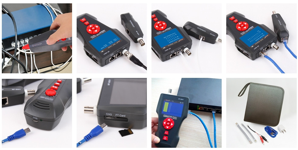 Network cable IQ Lan BNC cable tester wire fault locator voltage electricity cable locator with 8 reomotes
