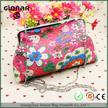 Guangzhou Factory Customized High End Ladies Embroidered Flower Colorful Long Chain Wallet Evening Clutch Bag