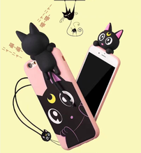 3D voice carton animal cat tpu mobile phone silicone case with earphone holder