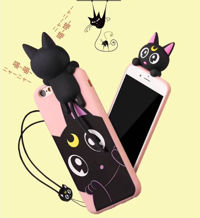 3D voice carton animal cat tpu silicone mobile phone case with earphone holder