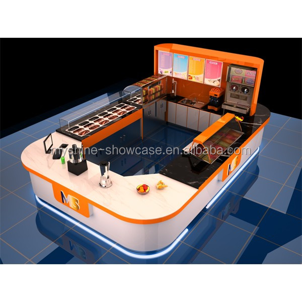 Top quality free design commercial mall food kiosk juice for Food bar manufacturers