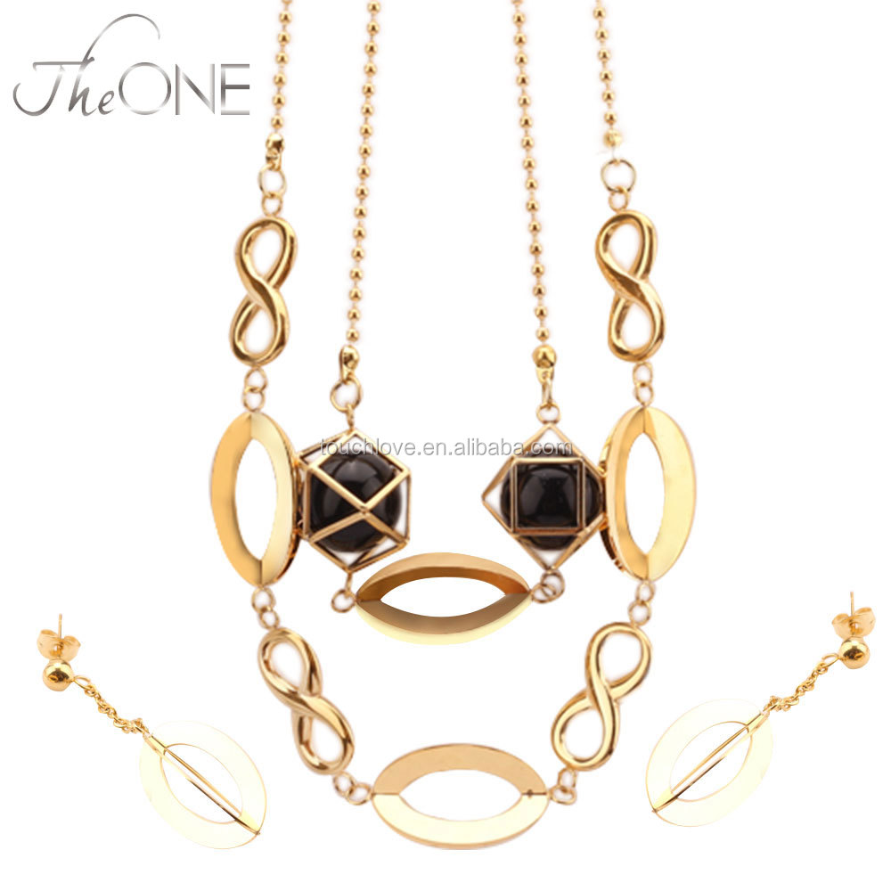 German Stainless Steel Gold Plated Pendant Jewelry Sets