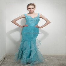 New style mermaid V-neck Shoulder-straps floor-length rushed organza prom gowns and satin beading evening dresses AS256