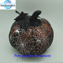 Spider net covered brown poly halloween artificial pumpkin for sale from Shenzhen factory