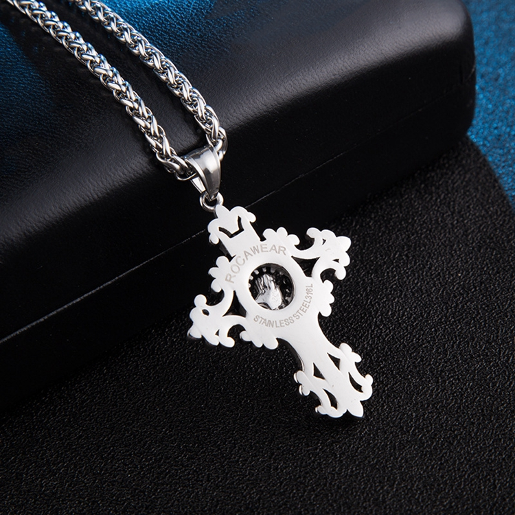Latest Designs Engraved Hollow Womens Antique Jesus Pendant Necklace Stainless Steel