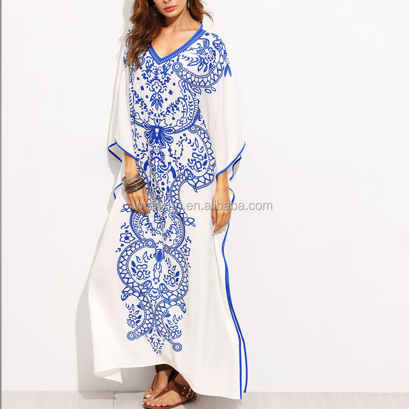 New Arrivals Ladies Beautiful Girl Jilbab Islamic Abaya Jalabiya Muslim Designer V Neck Blue Print Batwing Sleeve Kaftan Dress