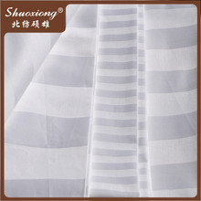 Hotel bedding 100% cotton fabric white cotton satin stripe fabric