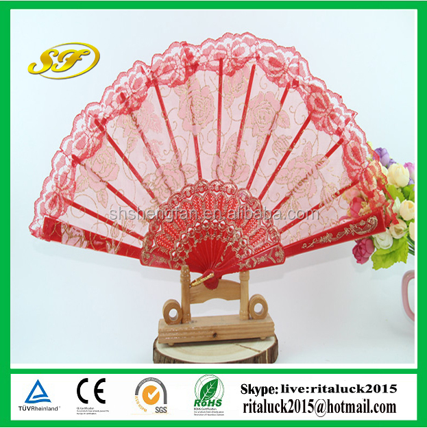 Colorful Wedding lace plastic hand fan
