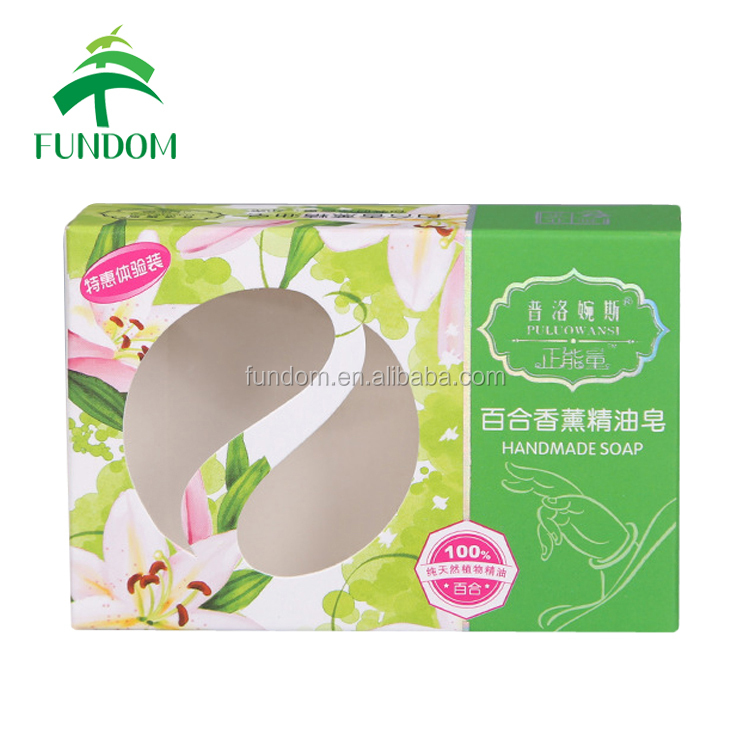 personlized design printing cheap tuck transparent PVC window paper handmade soap packing boxes for sale