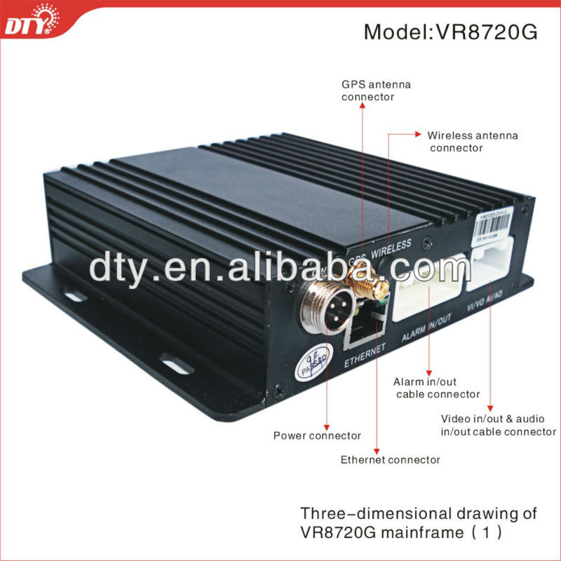 4CH Full D1 Real Time 2x64 GB SD Card H.264 Mobile High focus DVR with GPS G-sensor