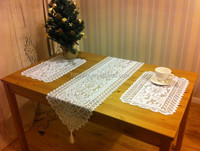 polyester lace table runner with tassel Christmas White Lace table Decoration table runner and placemat