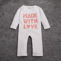 Made in China baby rompers high quality 100% cotton unisex clothes long sleeve baby onesie white