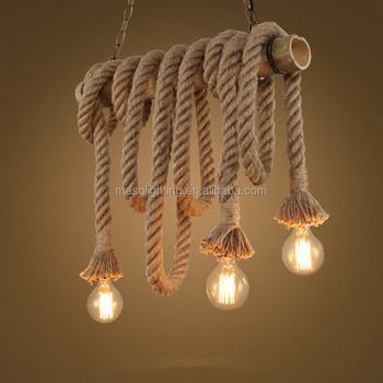 new arrivals decorative vintage bamboo chandelier lamp with rope hanging light for kitchen restaurant dinning places