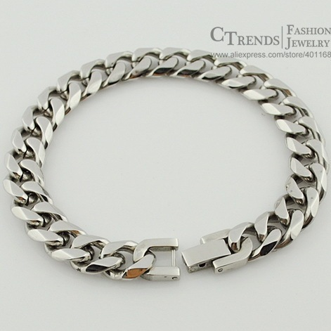 Jewelry Men Bracelet Cuban links & chains Silver Stainless Steel Bracelet for Bangle Male Accessory Wholesale  B284