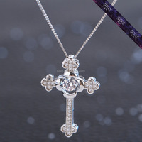 JP0048-925 Sterling Silver Vintage Cross Necklaces & Pendants For Women Fashion Fake Diamond Quality Jewelry