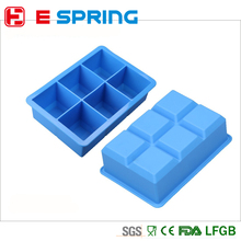 Hot Whiskey Cocktail 6 Holes Square Ice Mold Silicone Colorful Mould Bar Drink Whiskey DIY Ice Cube Tray Maker