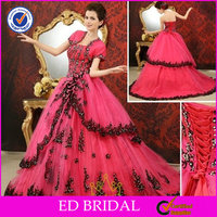EDW336 Ball Gown Beaded Detachable Skirt Hot Pink and Black Wedding Dress