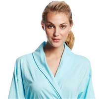 LADIES DRESSING GOWN SUPER SOFT FLEECE BATH ROBE HOUSE COAT STAR EMBOSSED