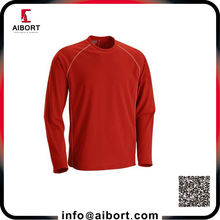 Customized red long sleeve men shirt with embroidery design
