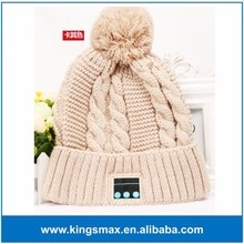 China Factory Supply Kakhi Winter Wool Music Stereo Hat Bluetooth Beanie Hat with Headphone
