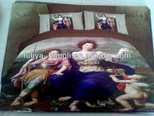 China oil painting printed polyester bedding sets