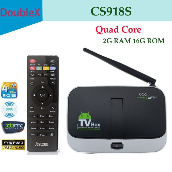 1chip wholesale hot product Andrioid 4.2 RK3288 CPU support 3g usb dongle CS918S android smart tv box with 5.0MP camera