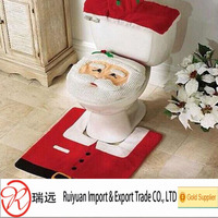 HOT SALE!!!2015 Cute Christmas Santa toilet cover set for promotion