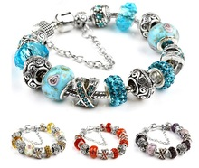 2015 Hot Sale Charm Bracelet With Blue Murano Glass Beads bracelets