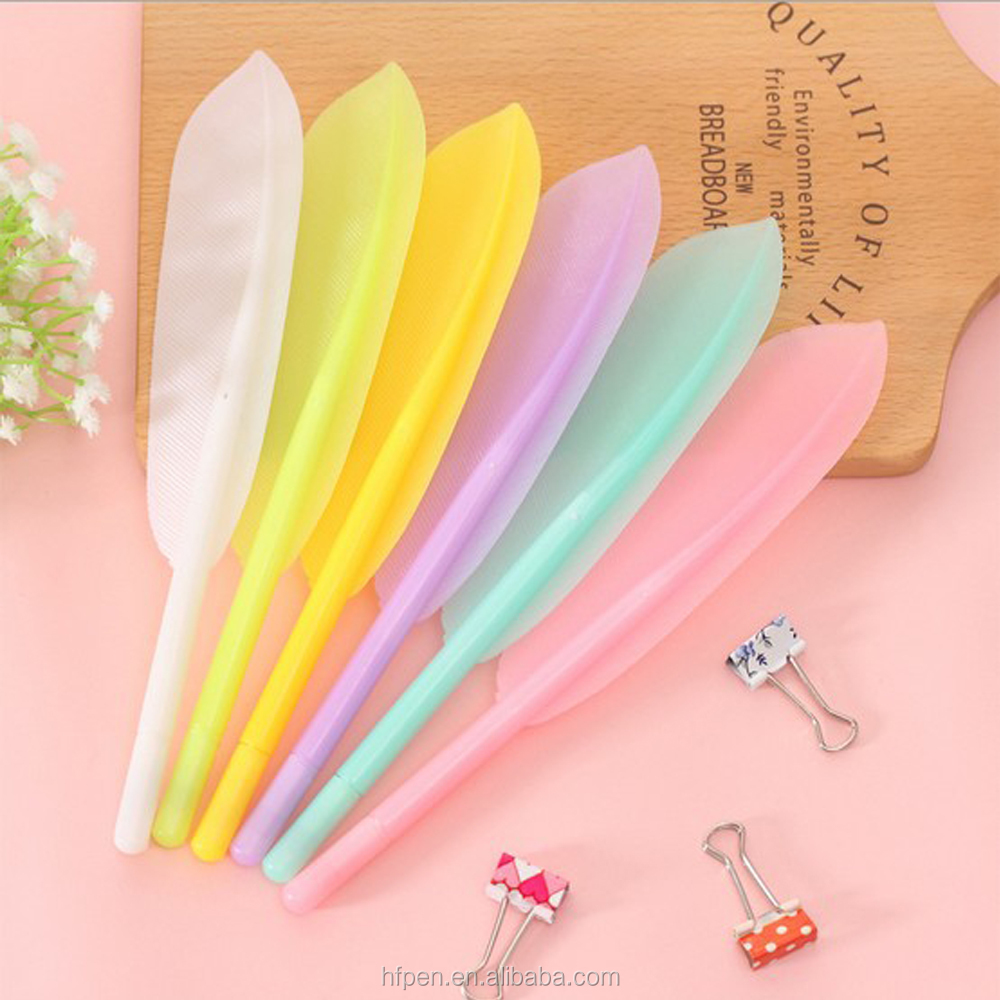 Promotional gift plastic feather quill ball pen