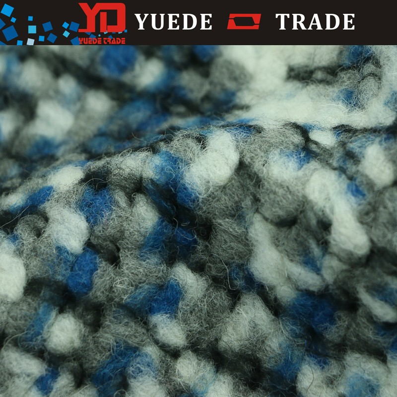 Good quality wool polyester blended grey melange colour boiled wool knit fabric for overcoat
