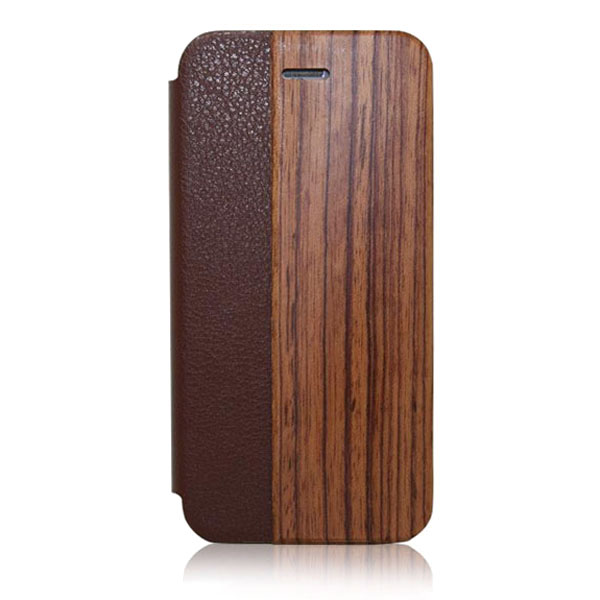 Factory Supply standing pu holster case for iphone6 plus,wooden flip leather holster