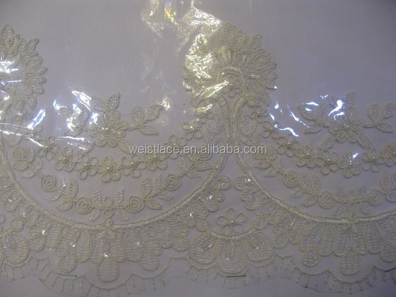 border lace 100% polyester ribbon embroidery fabric for wedding dress and garment
