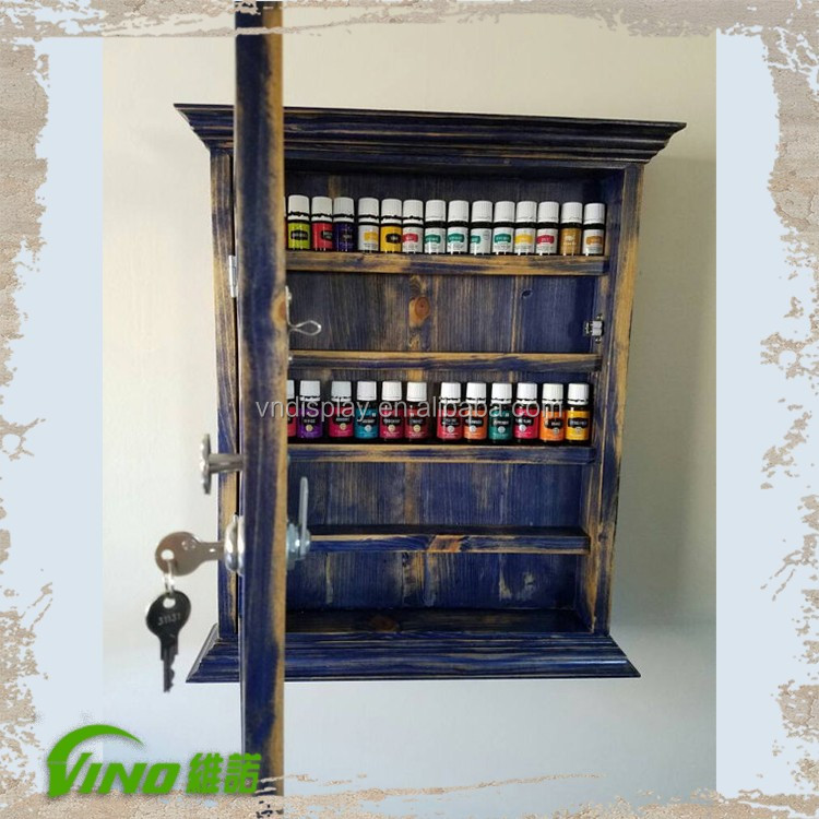 Vintage Wood Ferfume Storage Case with Door, wall essential oil rack display, cosmetic countertop nail polish display cabinet