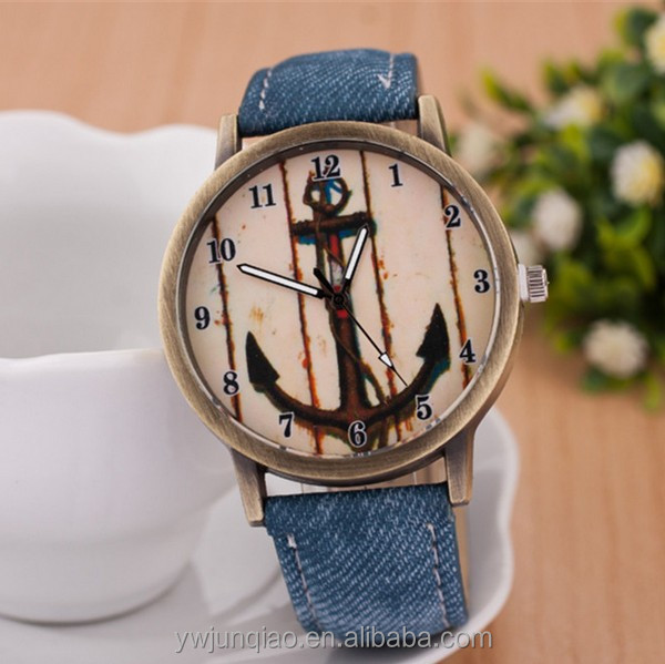 Fashion colors fabric strap quartz retro cartoon anchor face antique quartz watches