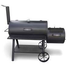 Charcoal BBQ Grill&Offset Smoker with Trolley Cart&Large Chimney for Backyard Used