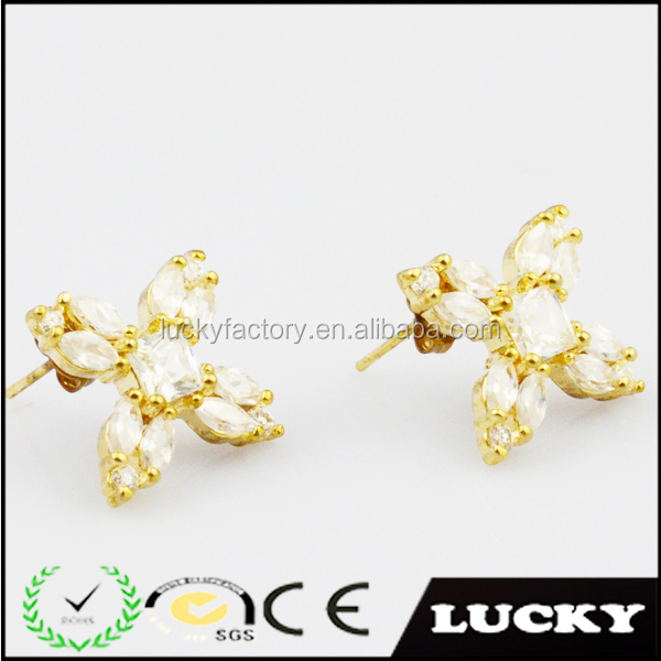 2014 gold plated cubic zirconia stud earrings