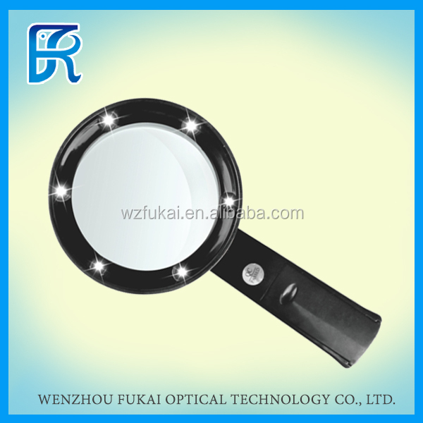 Alibaba China 2.5X large plastic hand magnifying glass with LED light