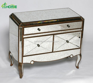 antiqued gold silver edged side cabinet