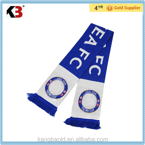 2016 Made in China manufacture winter fashion scarf football knitted scarf made by acrylic scarf