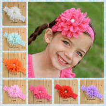 Baby Infant Girls Toddler Chiffon Elastic Lace Flower Headband Chiffon Flowers With CZ Diamond Headbnds