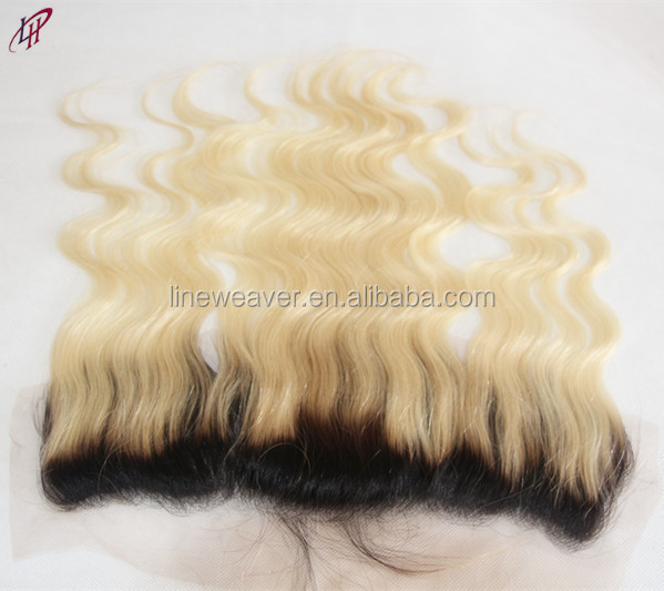 100%Chinese Human Hair Lace Closure, body wave Free Part bleached knots 613/1B ombre color