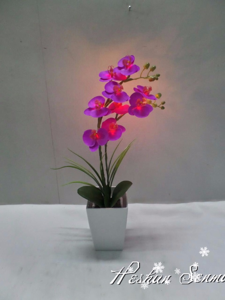 simulation artificial led orchid bonsai flowers for home art
