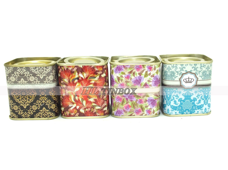 Set of Cute Square Cartoon Gift Tin Can/Tin Box